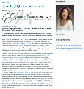 Princeton facial plastic surgeon, dermal fillers, why men choose cosmetic injectables, injectables for men, botox, dr. eugenie brunner